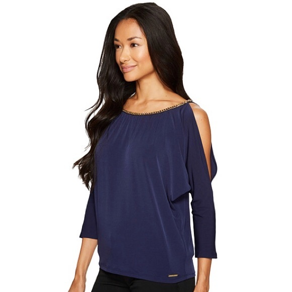 5db6bd948fb Michael Kors Chain Neck Cold Shoulder Top